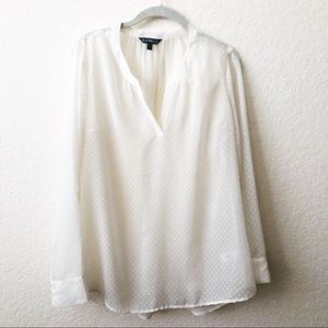 EXPRESS SHEER IVORY DOT BLOUSE